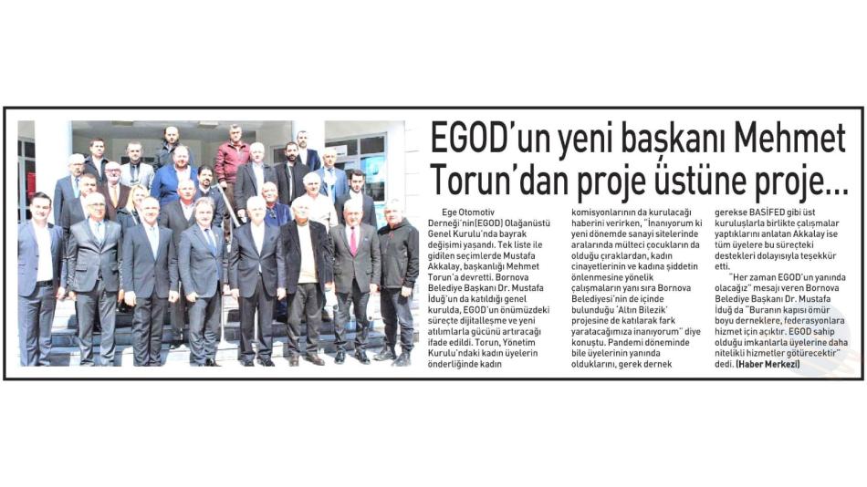 EGOD'da otomotivcilerin yeni başkanı Mehmet Torun